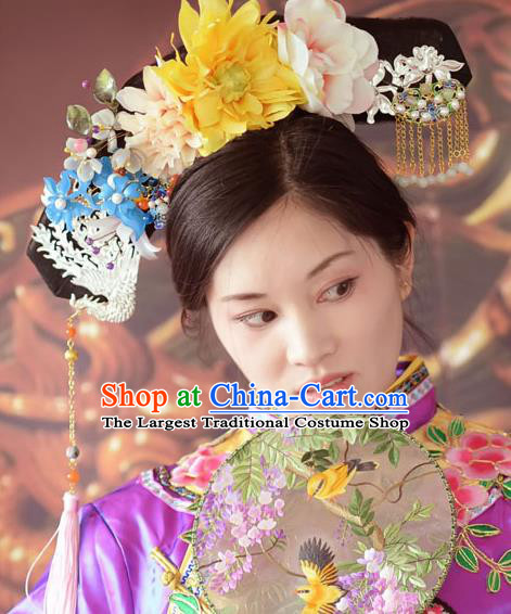 Traditional Chinese Qing Dynasty Manchu Imperial Consort Headwear Hairpins Ancient Handmade Queen Hair Accessories for Women