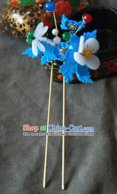 Handmade Chinese Ancient Qing Dynasty Imperial Consort Dragonfly Hairpins Headwear Hair Accessories for Women