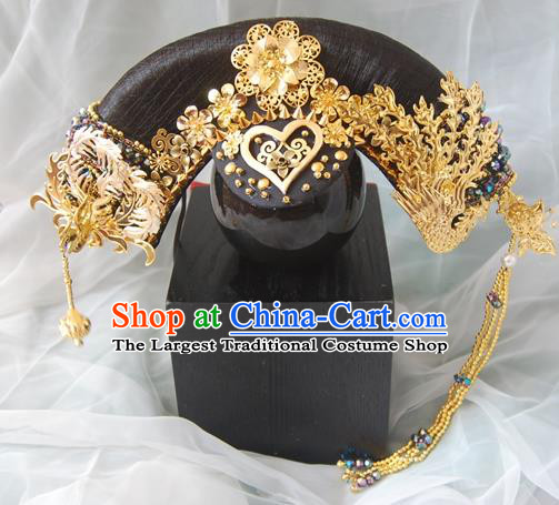 Chinese Qing Dynasty Manchu Imperial Consort Golden Phoenix Headwear Hairpins Ancient Handmade Queen Hair Accessories for Women