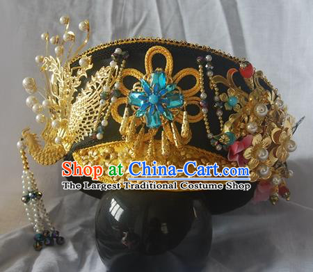 Chinese Qing Dynasty Manchu Imperial Consort Royal Golden Phoenix Hat Headwear Hairpins Ancient Handmade Queen Hair Accessories for Women