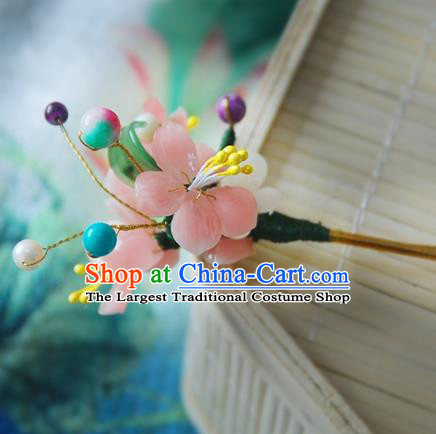 Handmade Chinese Ancient Princess Peach Blossom Hairpins Hair Clip Headwear Hair Accessories for Women