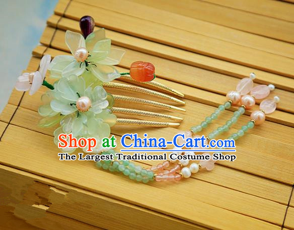 Chinese Handmade Hanfu Green Lotus Tassel Hair Comb Hairpins Traditional Ancient Princess Hair Accessories for Women