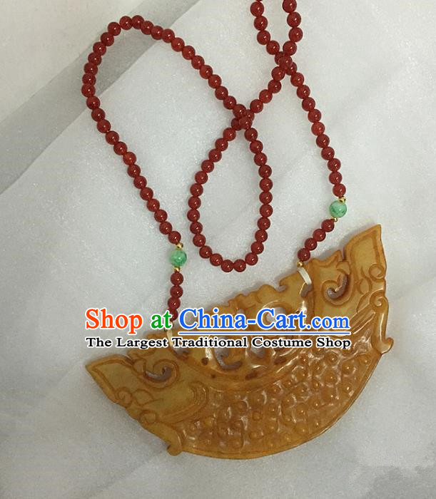 Chinese Handmade Hanfu Yellow Jade Necklace Traditional Ancient Princess Necklet Jewelry Accessories for Women