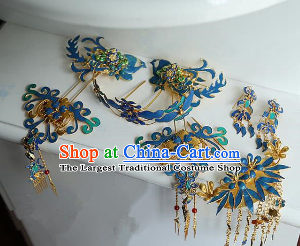 Chinese Handmade Hanfu Cloisonne Tassel Hair Crown Hairpins Traditional Ancient Princess Hair Accessories for Women