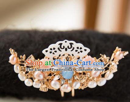Chinese Handmade Hanfu Shell Pearls Hair Crown Hairpins Traditional Ancient Princess Hair Accessories for Women