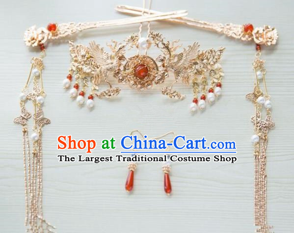Chinese Handmade Hanfu Cranes Hair Crown Tassel Hairpins Traditional Ancient Princess Hair Accessories for Women