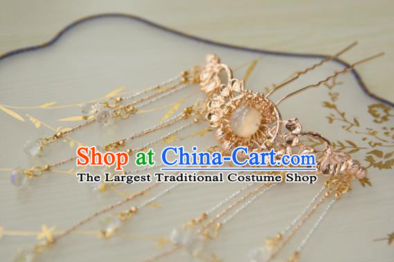 Chinese Handmade Hanfu Golden Tassel Hairpins Traditional Ancient Princess Hair Accessories for Women