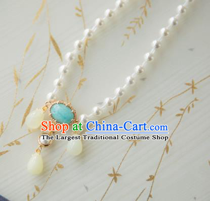 Chinese Handmade Hanfu Pearls Necklace Traditional Ancient Princess Necklet Jewelry Accessories for Women