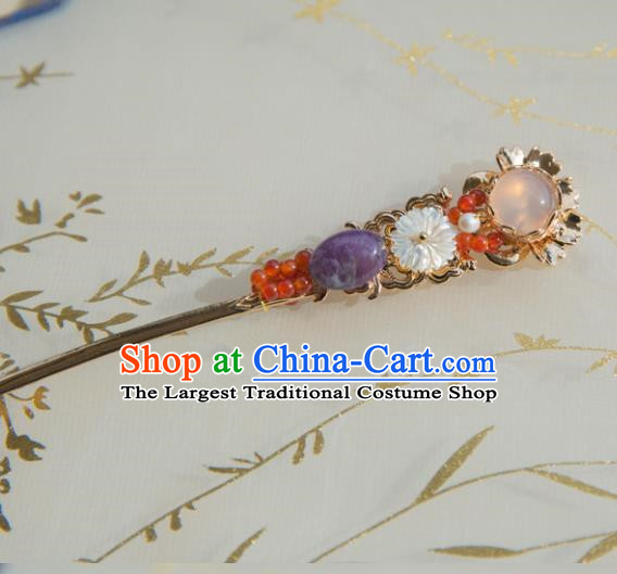 Chinese Handmade Hanfu Rose Chalcedony Hairpins Traditional Ancient Princess Hair Accessories for Women