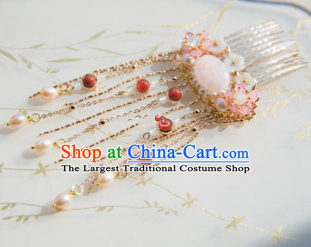 Chinese Handmade Hanfu Pearls Tassel Hair Comb Hairpins Traditional Ancient Princess Hair Accessories for Women