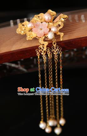 Chinese Handmade Hanfu Hairpins Pearls Tassel Cloud Hair Claw Traditional Ancient Princess Hair Accessories for Women