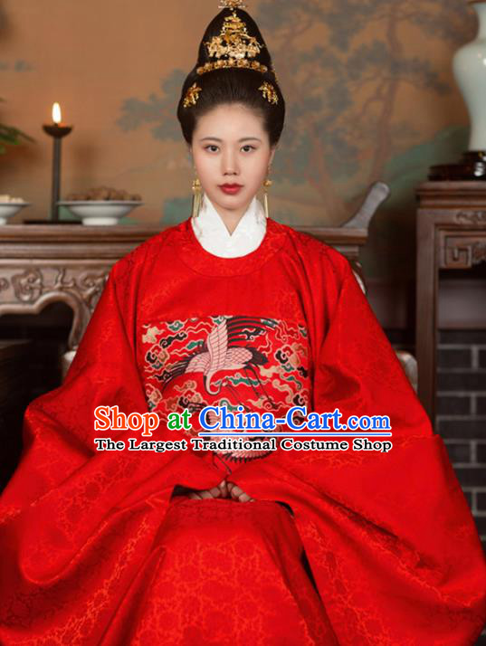 Chinese Ancient Ming Dynasty Court Queen Hanfu Dress Traditional Imperial Empress Embroidered Wedding Historical Costume for Women
