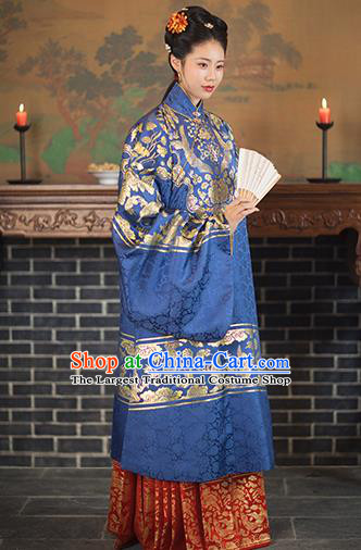 Chinese Ancient Ming Dynasty Royal Dowager Royalblue Hanfu Dress Traditional Imperial Madame Embroidered Historical Costume for Women