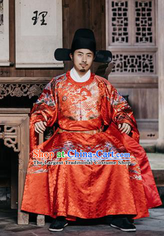 Traditional Chinese Ancient Ming Dynasty Emperor Wedding Historical Costume and Headpiece Complete Set