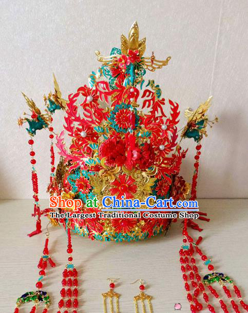 Chinese Handmade Hanfu Wedding Phoenix Coronet Hairpins Traditional Ancient Princess Hair Accessories for Women