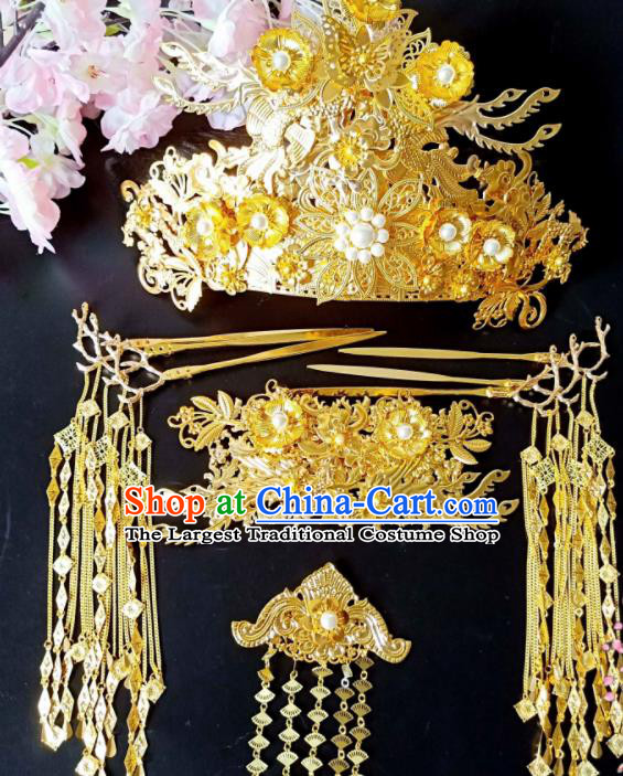 Chinese Handmade Hanfu Palace Golden Hairpins Wedding Phoenix Coronet Traditional Ancient Princess Hair Accessories for Women