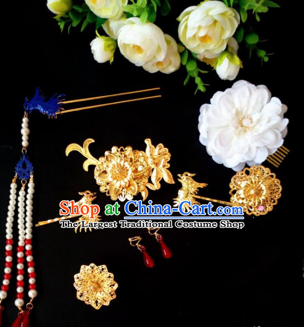Chinese Handmade Hanfu Palace Phoenix Hair Clip Tassel Hairpins Traditional Ancient Princess Hair Accessories for Women
