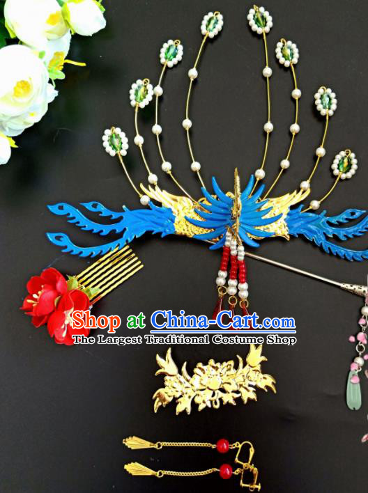 Chinese Handmade Hanfu Palace Blue Phoenix Coronet Tassel Hairpins Traditional Ancient Princess Hair Accessories for Women