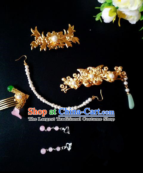 Chinese Handmade Hanfu Palace Hair Comb Tassel Hairpins Traditional Ancient Princess Hair Accessories for Women