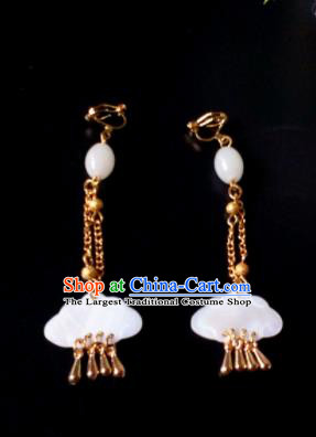 Handmade Chinese Classical Shell Ear Accessories Ancient Princess Hanfu Earrings for Women