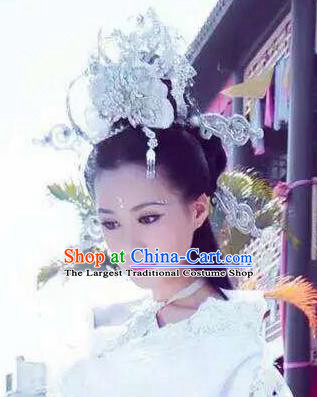 Handmade Chinese White Phoenix Coronet Traditional Hanfu Hairpins Ancient Ming Dynasty Princess Hair Accessories for Women