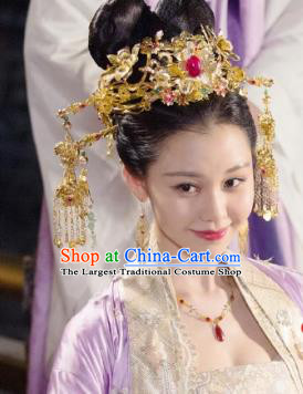 Handmade Chinese Golden Phoenix Coronet Traditional Hanfu Hairpins Ancient Tang Dynasty Princess Hair Accessories for Women