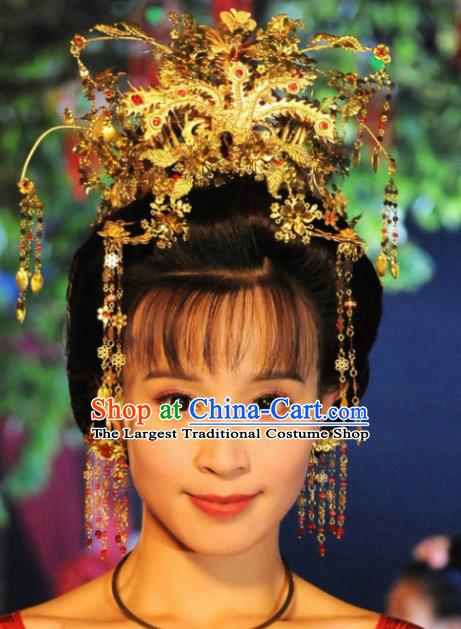 Handmade Chinese Court Hanfu Hairpins Traditional Phoenix Coronet Ancient Han Dynasty Queen Hair Accessories for Women