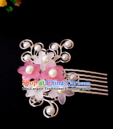 Chinese Handmade Hanfu Palace Flowers Hair Comb Hairpins Traditional Ancient Princess Hair Accessories for Women