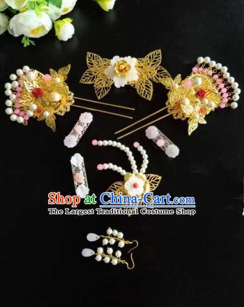 Chinese Handmade Hanfu Palace Golden Hair Comb Hairpins Traditional Ancient Princess Hair Accessories for Women
