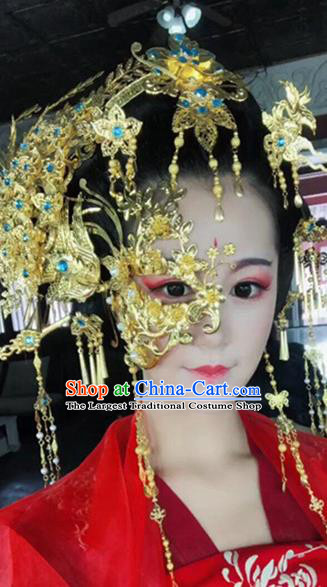 Chinese Handmade Hanfu Palace Golden Phoenix Coronet Mask Hairpins Traditional Ancient Imperial Consort Hair Accessories for Women