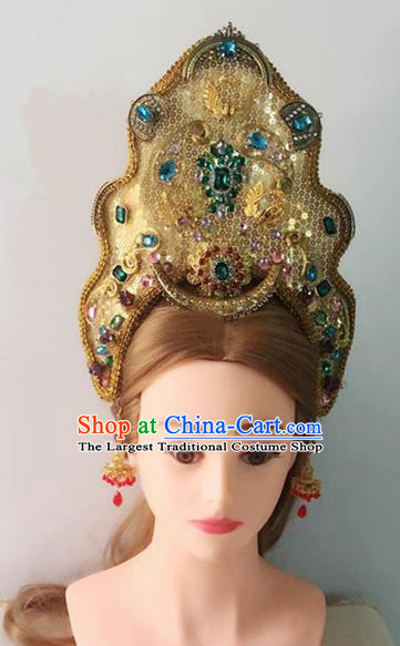 Handmade Chinese Royal Hat Traditional Hanfu Hairpins Ancient Tang Dynasty Queen Hair Accessories for Women