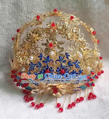 Chinese Handmade Hanfu Bride Blueing Phoenix Coronet Hairpins Traditional Ancient Imperial Consort Hair Accessories for Women