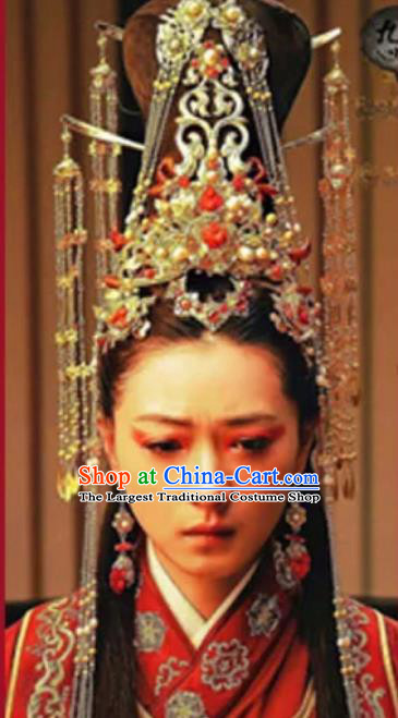 Chinese Handmade Hanfu Han Dynasty Hairpins Phoenix Coronet Traditional Ancient Imperial Consort Hair Accessories for Women