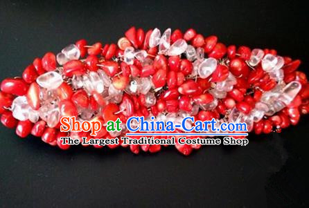 Chinese Handmade Hanfu Palace Pomegranate Seed Hair Crown Hairpins Traditional Ancient Princess Hair Accessories for Women