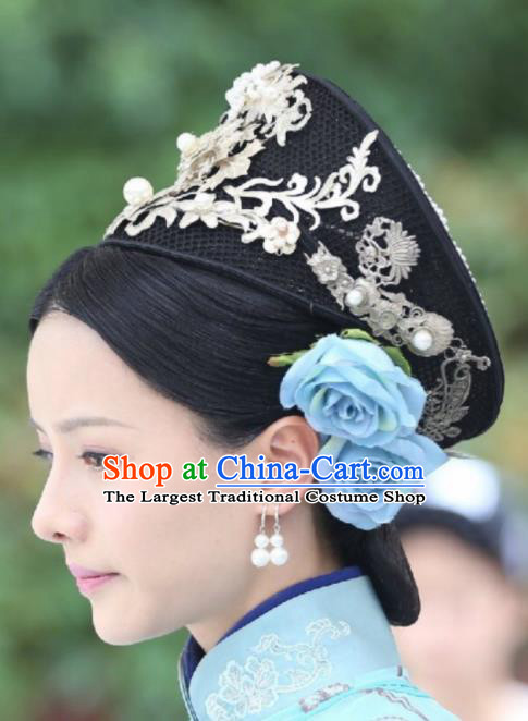 Chinese Handmade Hanfu Qing Dynasty Royal Lady Hat Traditional Ancient Imperial Consort Hair Accessories for Women