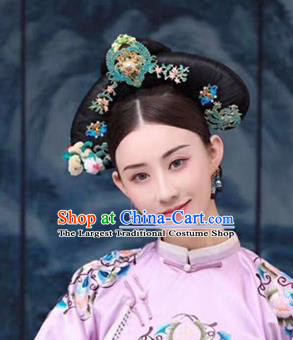 Chinese Handmade Hanfu Qing Dynasty Hair Crown Royal Lady Hairpins Traditional Ancient Imperial Consort Hair Accessories for Women