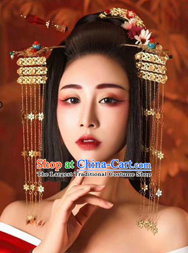 Chinese Handmade Hanfu Tang Dynasty Tassel Hair Clip Palace Lady Hairpins Traditional Ancient Imperial Consort Hair Accessories for Women