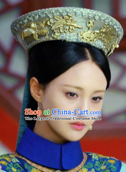 Chinese Handmade Hanfu Qing Dynasty Palace Golden Hat Traditional Ancient Imperial Consort Hair Accessories for Women