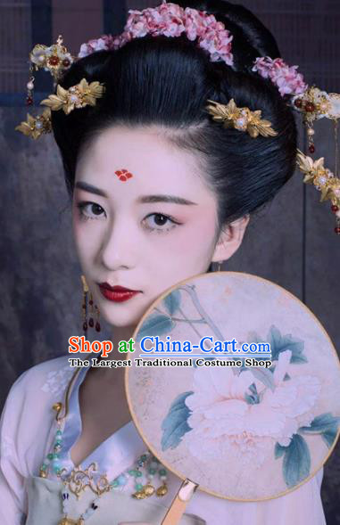 Handmade Chinese Palace Queen Flowers Hair Crown Hairpins Ancient Traditional Hanfu Hair Accessories for Women