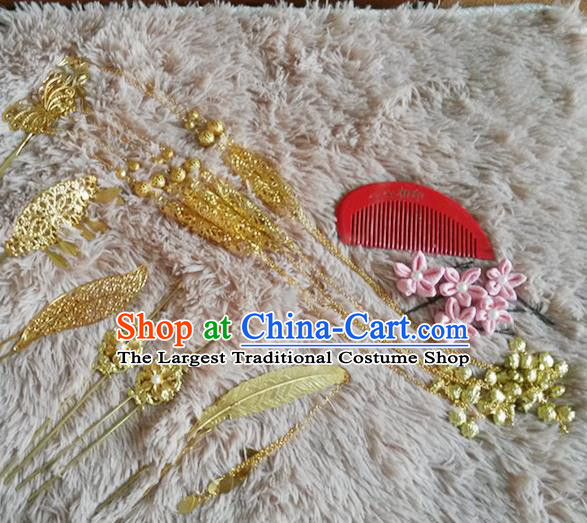 Handmade Chinese Palace Princess Golden Hairpins Hair Combs Ancient Traditional Hanfu Hair Accessories for Women