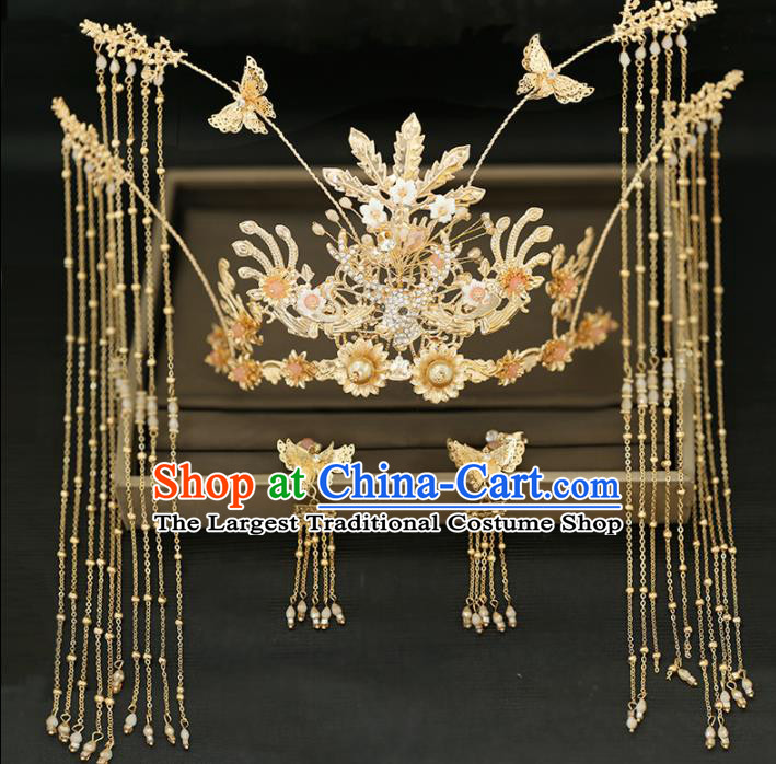 Handmade Chinese Ancient Wedding Tassel Phoenix Coronet Hairpins Traditional Bride Hanfu Hair Accessories for Women