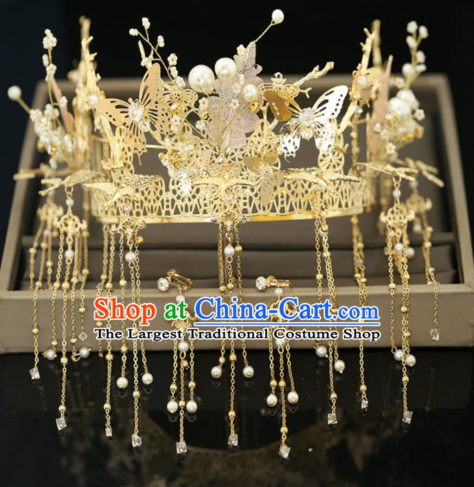 Handmade Chinese Ancient Wedding Butterfly Tassel Phoenix Coronet Hairpins Traditional Bride Hanfu Hair Accessories for Women