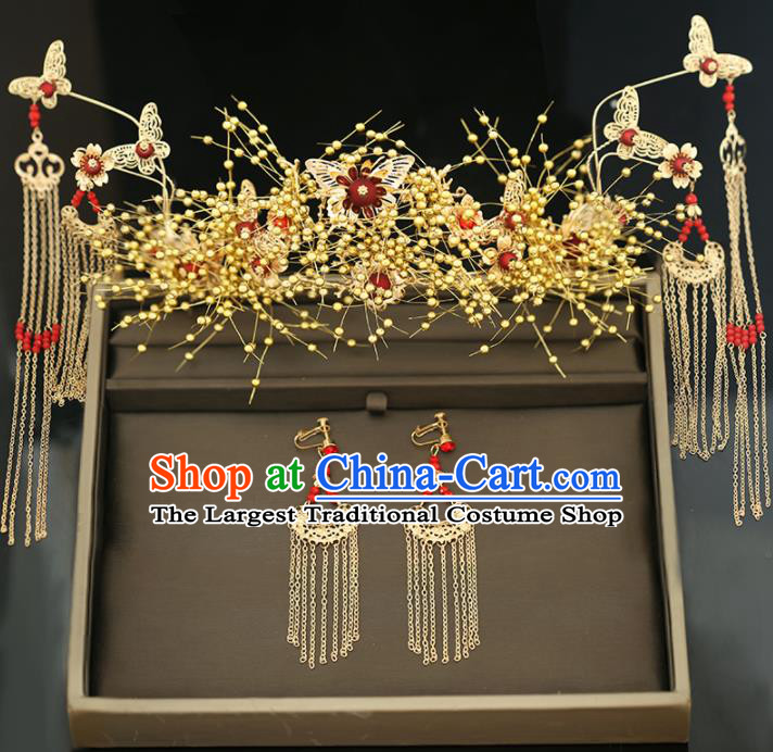 Handmade Chinese Ancient Wedding Golden Tassel Phoenix Coronet Hairpins Traditional Bride Hanfu Hair Accessories for Women