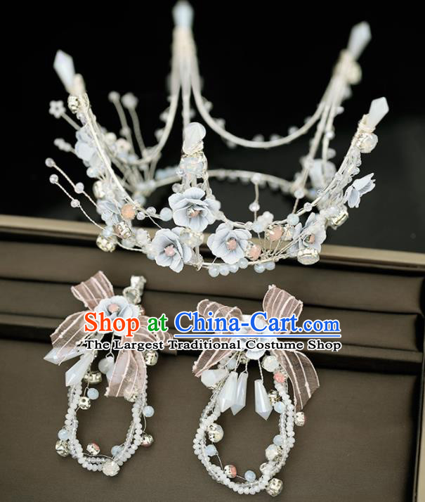 Top Grade Handmade Baroque Bride Blue Flowers Royal Crown Princess Wedding Hair Accessories for Women