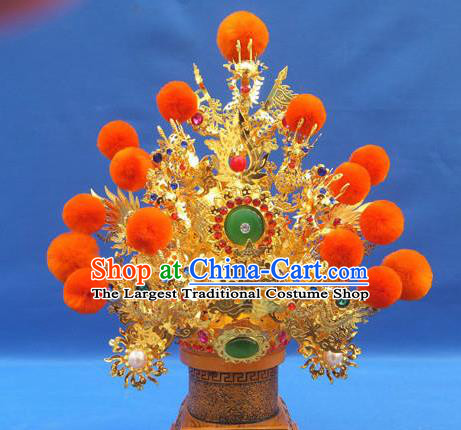 Handmade Chinese Traditional Immortals Orange Venonat Helmet Hair Accessories Ancient Swordsman Hairdo Crown for Men