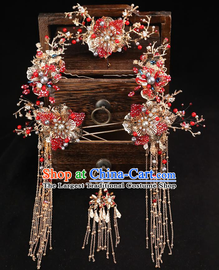 Handmade Chinese Wedding Red Crystal Hair Comb Tassel Hairpins Ancient Traditional Hanfu Hair Accessories for Women
