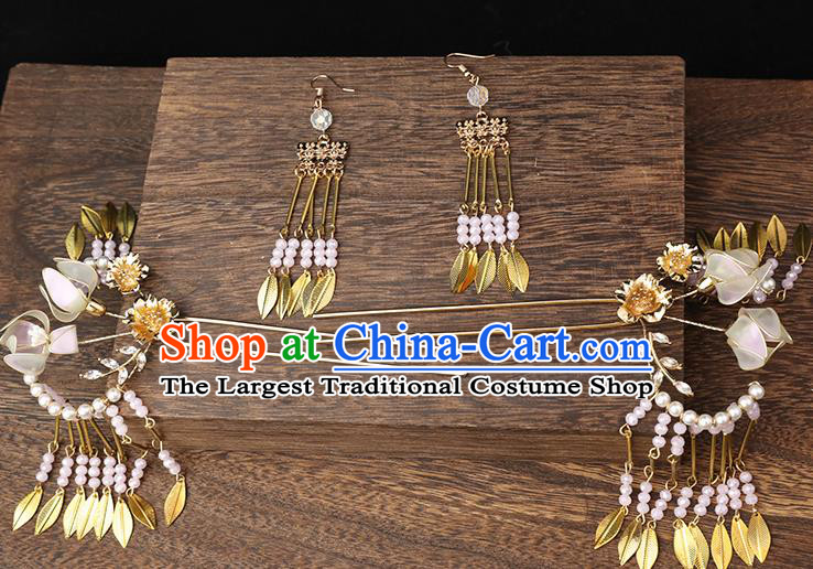 Handmade Chinese Wedding Tassel Hair Clips Hairpins Ancient Traditional Hanfu Hair Accessories for Women