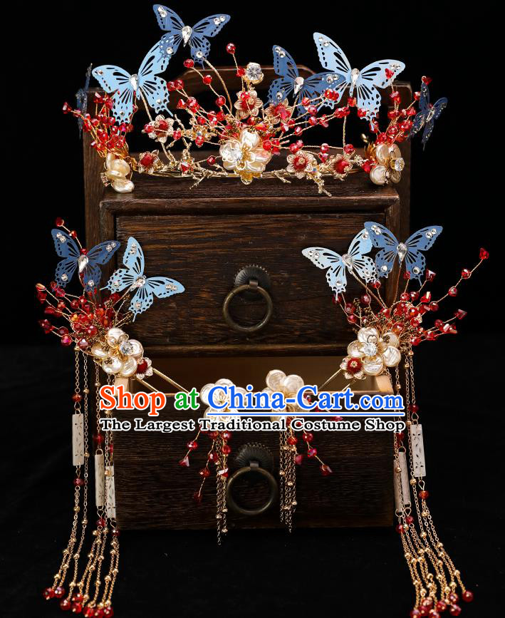 Handmade Chinese Wedding Tassel Blue Butterfly Hair Crown Hairpins Ancient Traditional Hanfu Hair Accessories for Women
