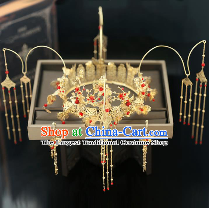 Handmade Chinese Ancient Wedding Hairpins Tassel Phoenix Coronet Traditional Bride Hanfu Hair Accessories for Women