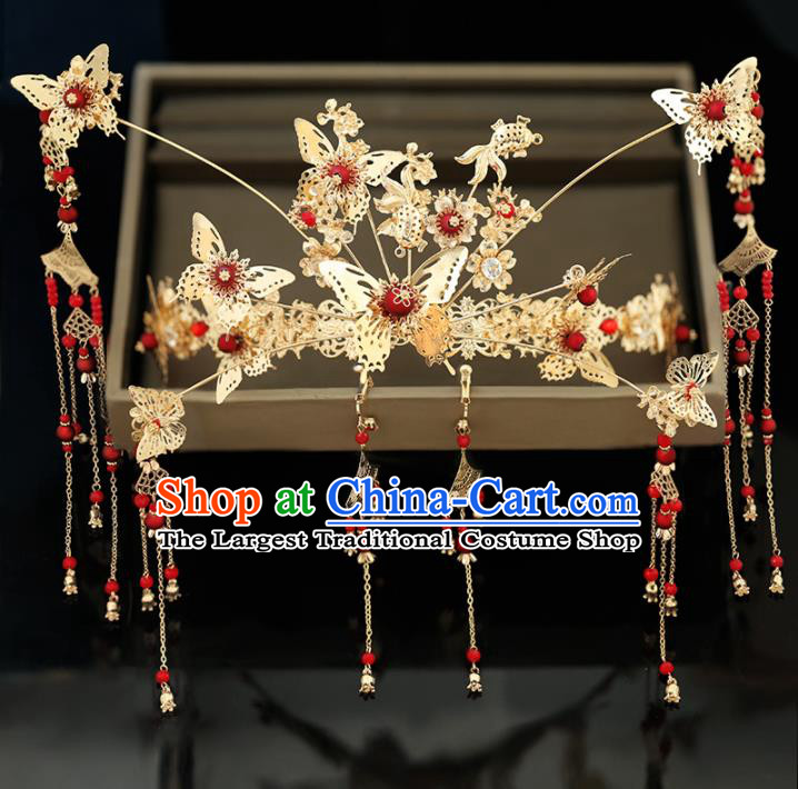 Handmade Chinese Ancient Wedding Hairpins Butterfly Phoenix Coronet Traditional Bride Hanfu Hair Accessories for Women